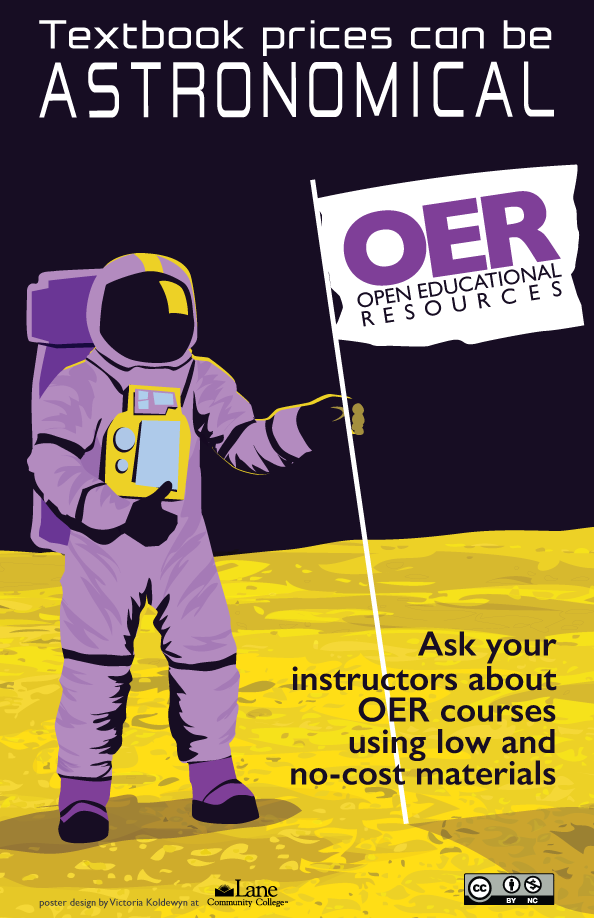 Textbook prices can be astronomical. Ask your instructors about OER courses using low and no-cost materials.